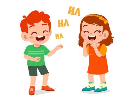 little boy and little girl laugh together Ilustración de vector