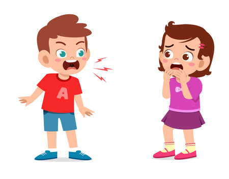 little boy angry and shout to little girl