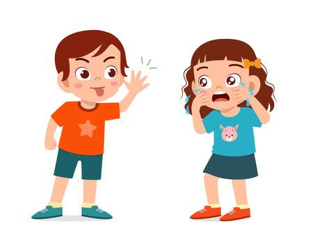 little boy bully little girl until she cry