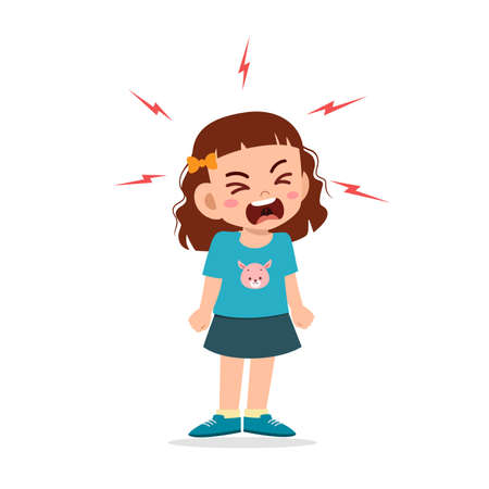 little girl tantrum and scream very loud Ilustración de vector