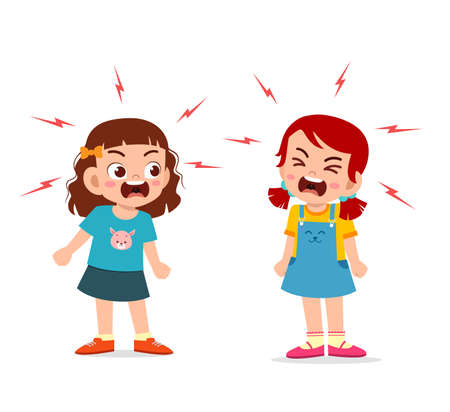 little girl fight and argue with her friend Vecteurs