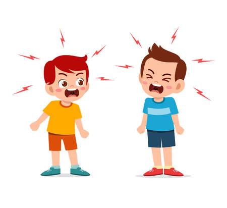 little girl fight and argue with her friend Ilustración de vector