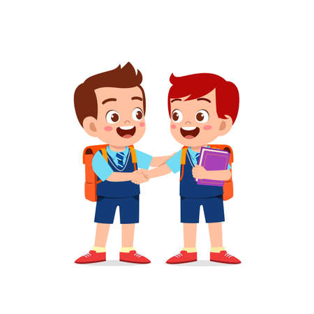 cute little kid boy do hand shake with his friend