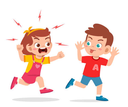 bad little boy run and show grimace face to angry friend