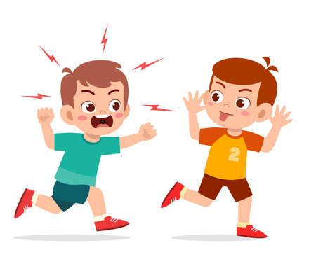 bad little boy run and show grimace face to angry friend Ilustración de vector