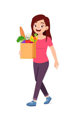 young good looking woman carry bag full of grocery