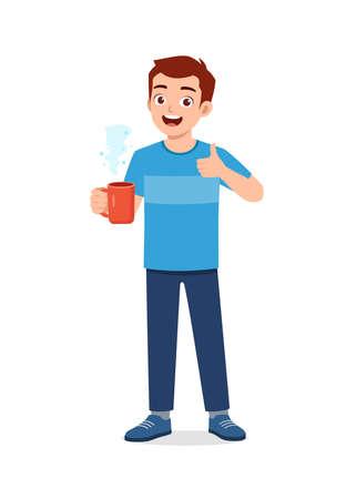 young good looking man drink coffee on glass Illusztráció