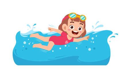 cute little kid girl swim under water on summer holiday Ilustración de vector