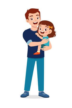 young good looking father carry cute kid Illusztráció