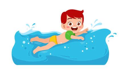 cute little kid boy swim under water on summer holiday