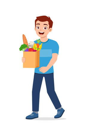 young good looking man carry bag full of grocery Illusztráció