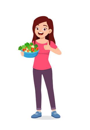 young good looking woman eat fruit and vegetable Illusztráció