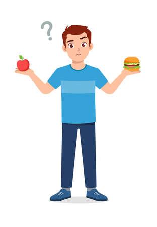 young good looking man choose healthy food or junk food