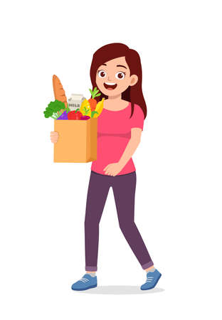 young good looking woman carry bag full of grocery Illusztráció