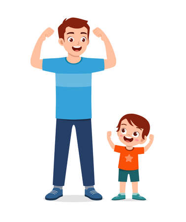 cute little kid copy dad strong pose