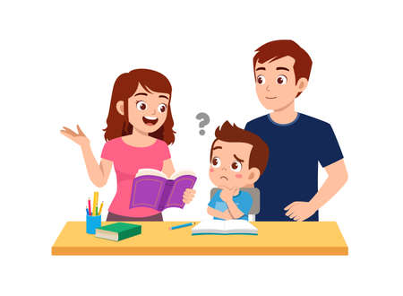 cute little boy study with mother and father at home together