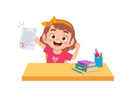 cute little boy feel happy because get good grade from exam Vektorgrafik