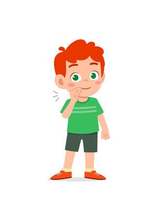 cute little boy show zip mouth pose expression Vektoros illusztráció