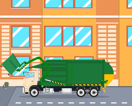 cleaning up: The machine picks up garbage from the yard lifting it with a fork mechanism. Cleaning equipment. illustration Illustration