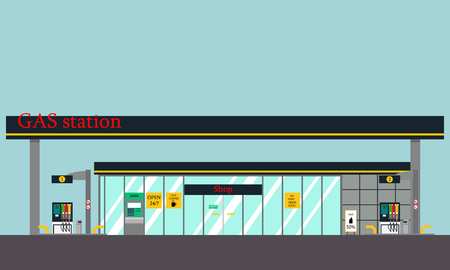 View of the building of gas stations with a shop and ATM. illustration Illustration