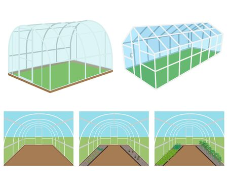 in the greenhouse: Set of isolated greenhouses on a white background. illustration Illustration