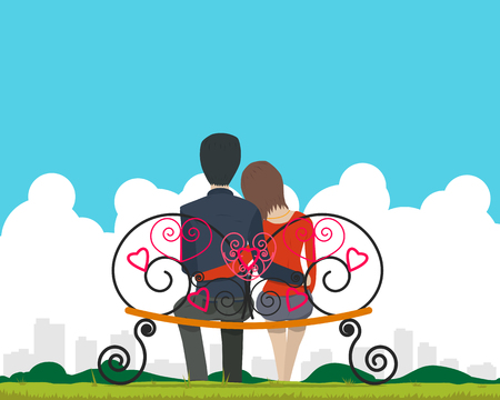Couple sitting on a bench in the park and admire landscape of the city on Valentine's Day. illustration