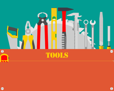 tool kit: Poster with carpenter tool kit with space for text. Woodworking and carpentry, construction tools. illustration