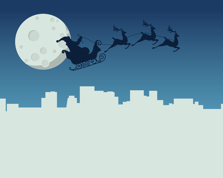 christmas night: New Year card with Santa Claus flying in sleigh on background of the moon above the night city. illustration