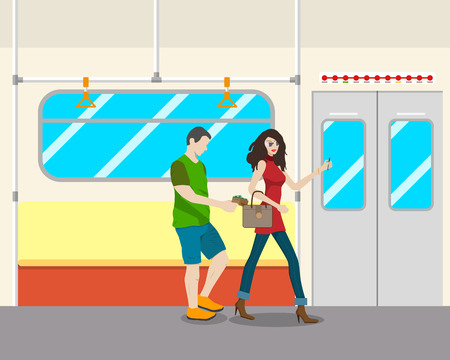 distracted: The girl in the transport was distracted by a phone call and a thief stole a purse. illustration