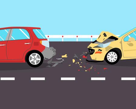 ドライバーはブレーキに時間がありませんでした、道路上の 2 台の車に墜落しました。図  イラスト・ベクター素材