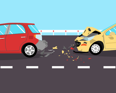 fast car: The driver did not have time to brake and crashed into two cars on the road. illustration