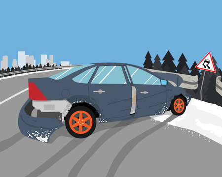 accident car: The driver lost control on a slippery road and the car skidded. illustration Illustration