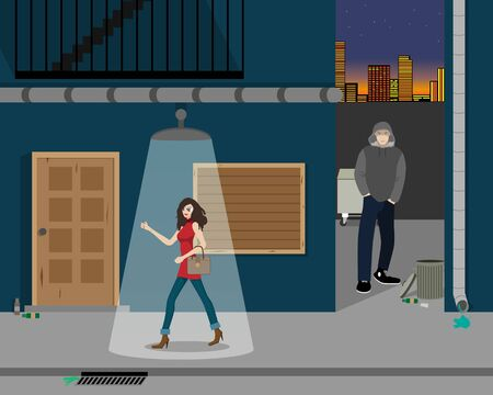 returned: The girl returned home from a party through a dark alley. illustration