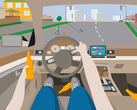 car navigation: Drunk man rides behind the wheel of a car navigation device and does not have time to notice the baby on the road. illustration