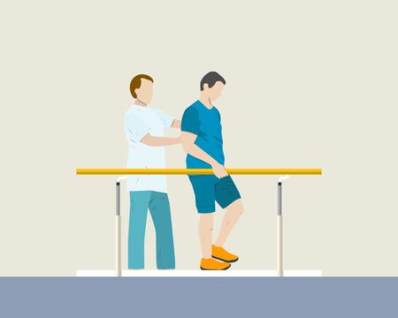 The doctor helps a patient in the hospital room rehabilitation. illustration Vektoros illusztráció