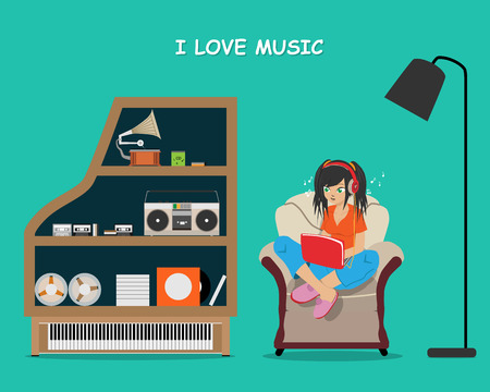 cd recorder: Girl listening to music on the laptop through the Internet while sitting on a chair near the cabinet. Vector illustration