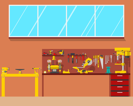 lathe: View of the interior of the workplace carpenter in a workshop. Woodworking and carpentry, construction tools. Vector illustration