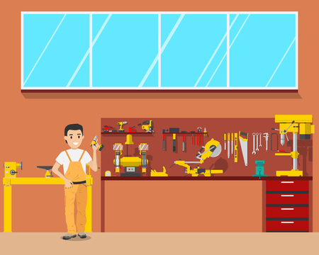 View of the interior of the workplace carpenter in a workshop. Woodworking and carpentry, construction tools. Vector illustration