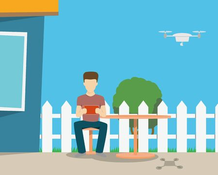observation: The man on the terrace videos with the drone. Vector illustration Illustration