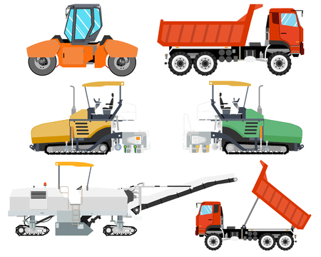Heavy machinery for construction and repair of roads. Roadwork. Vector illustration  イラスト・ベクター素材
