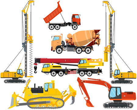 dump body: Set the isolation of heavy equipment for construction and repair on a white background. Construction and road works. Vector illustration Illustration