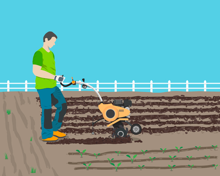 cultivator: Man plows the field in the country a new cultivator for planting harvest. Vector illustration