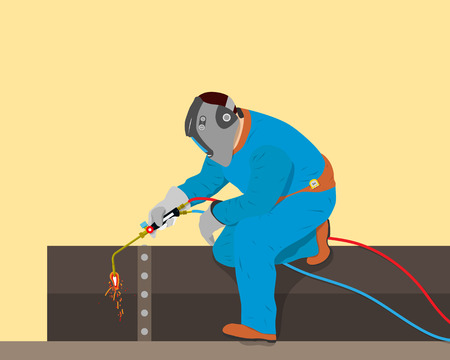 Welder cuts off a piece of iron pipe of the gas burner. Vector illustration