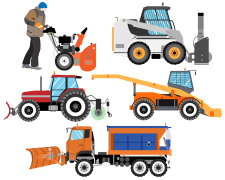 road works: Heavy Equipment for cleaning the roads from snow. Snow plows. Road works. Vector illustration