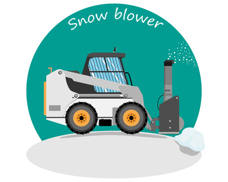 Snow removers to clear snow. Road works. Vector illustration