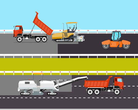 heavy machinery: Heavy machinery is involved in the construction of the road. Roadwork. Vector illustration