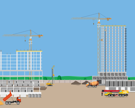 construction industry: Heavy machinery at a construction site building high-rise building. Industrial cranes. Vector illustration