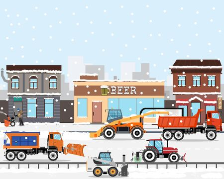 Heavy Equipment cleans the road in the storm of snow in the city. Snow removers. Road works. Vector illustration Illustration