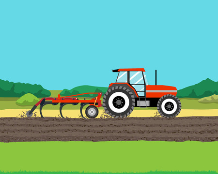 cultivator: Tractor plowing a field for planting crops. Agriculture. Vector illustration
