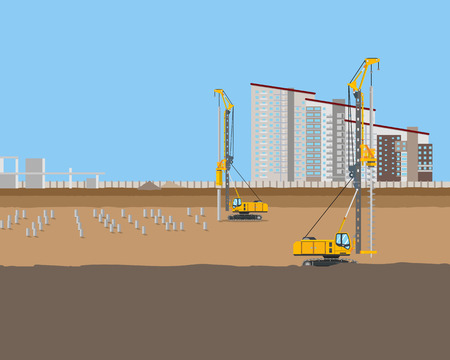 piling: Piling machines installed piles at a construction site for a new home. Vector illustration